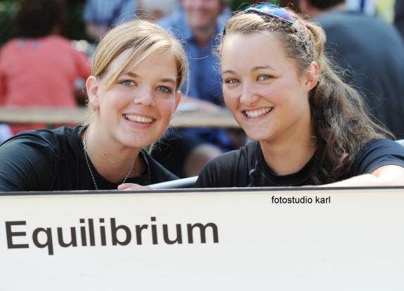 Frederike Hackenbroch und Svenja Jonas hinter ihrem Boot Equilibrium