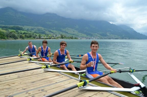 Doppelsieg in der Schweiz: Michael Etzkorn (Mainz), Johannes Lange (LCW), Claas Mertens (Konstanz) und Roman Acht (LCW)
