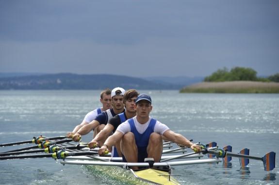 Der erfolgreiche Leichtgewichts-Doppelvierer (von vorne nach hinten): Roman Acht, Claas Mertens (Konstanz), Johannes Lange, Michael Etzkorn (Mainz) (Foto: Ralf Kockel)