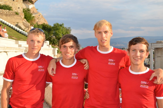 Leichtgewichts-Doppelvierer (von links): Matthias Arnold (Hannover), Claas Mertens (Konstanz), Julius Peschel (Hannover) und Roman Acht (Foto: Ralf Kockel)