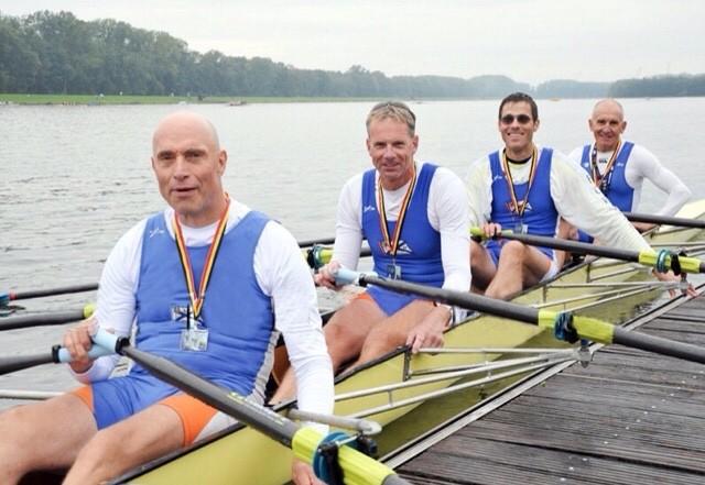 Klaus Schuy, Stefan Heyde, Nicolas Seiffert und Werner Gläser im siegreichen Doppelvierer